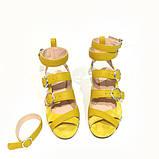 Босоножки-гладиаторы с каблуком 4см, цвет желтый, фото 3