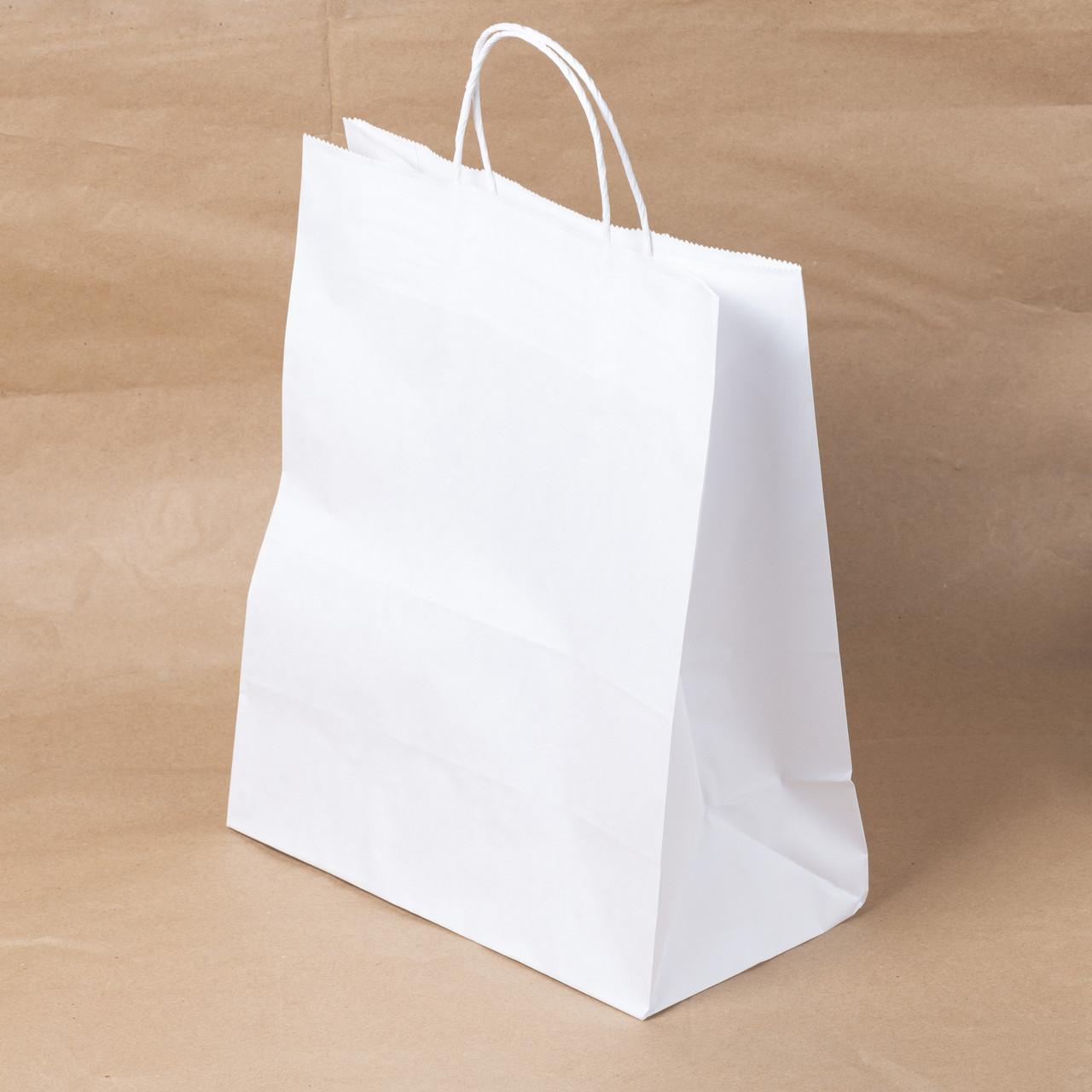 Пакет бумажный белый с крученными ручками 260х150х350 мм.