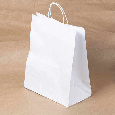 Пакет бумажный белый с крученными ручками 260х150х350 мм., фото 2