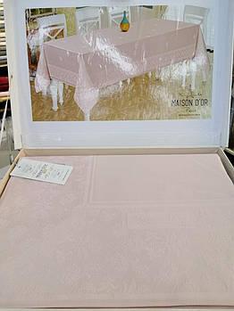 Скатерть с салфетками Set Maison D'or 160x270 см + 8 салфеток Katlamali Masa Ort. Pudra