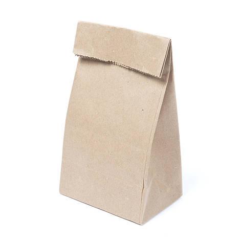 Бумажный пакет для чая и кофе с дном 90*65*210 бурый, фото 2