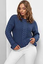Теплый женский вязаный свитер синего цвета