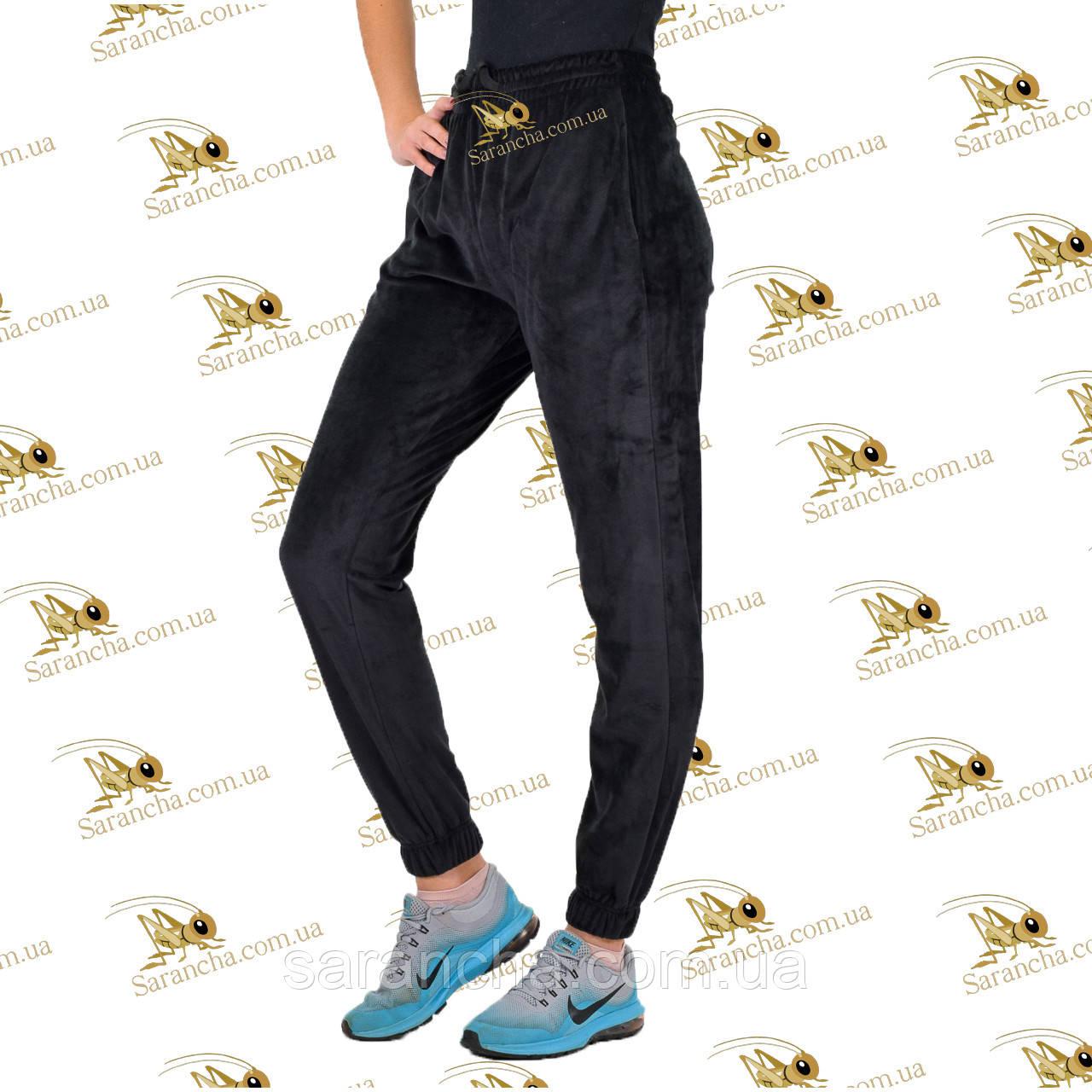 Утеплені велюрові чорні штанці на манжеті розмір 42, 44, 46, 48