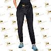 Утеплені велюрові чорні штанці на манжеті розмір 42, 44, 46, 48, фото 3