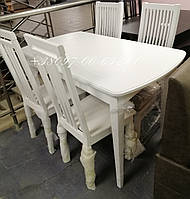 Комплект Белый Раскладной Милан + 4 стула Бремен, фото 1