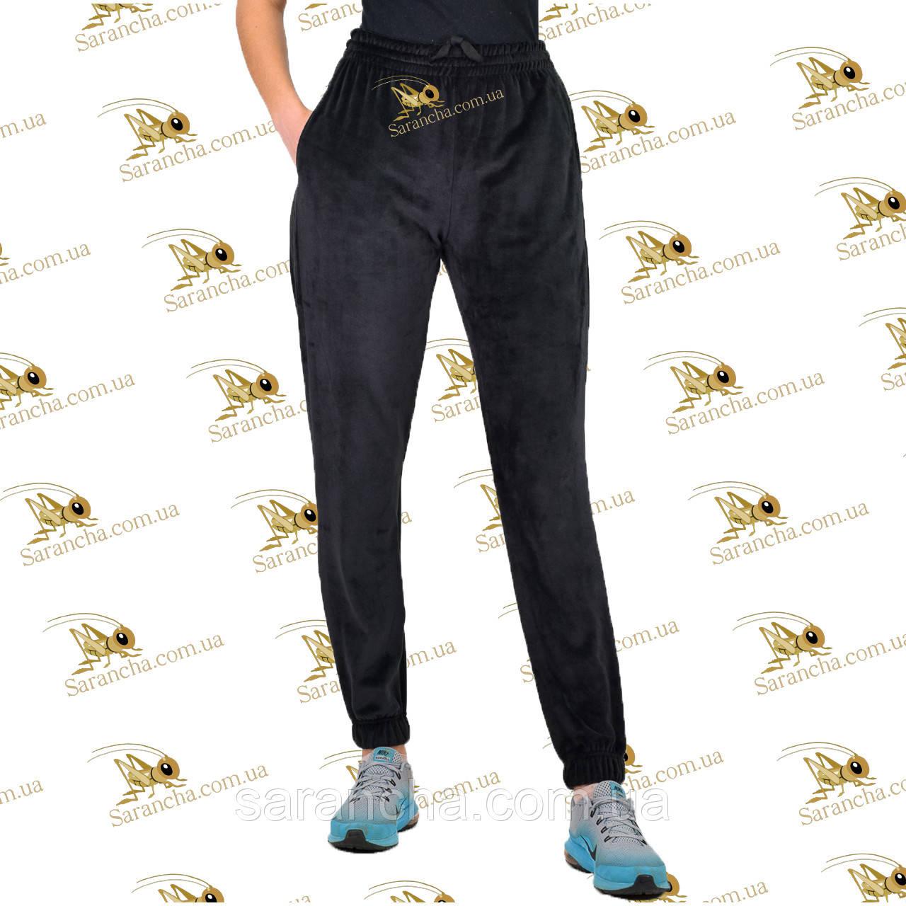 Велюрові черного кольору на меху штанишки на манжеті розмір