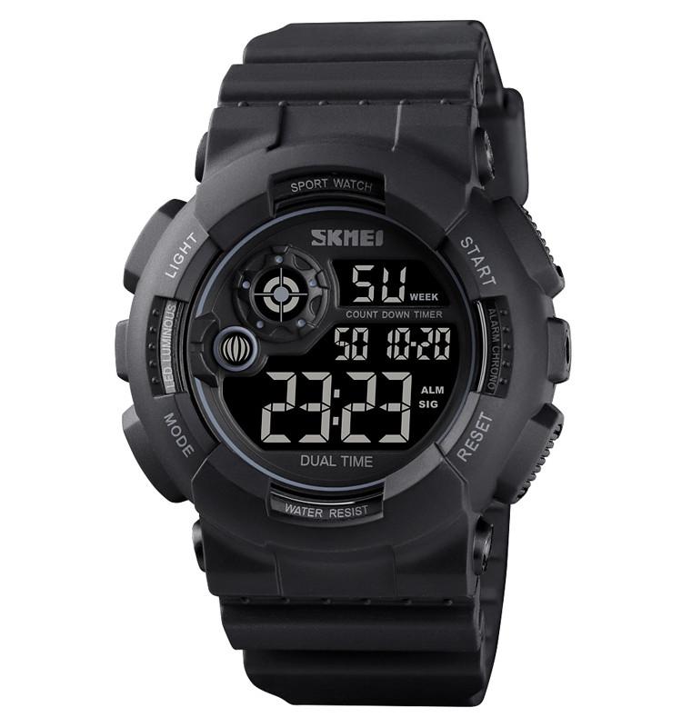 Мужские спортивные часы Skmei 1583 черные с черным циферблатом