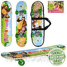 Скейтборд детский деревянный с сумкой Profi MM 0009 Маша и Медведь, зеленый