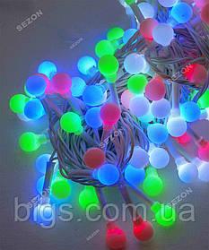 Новогодняя гирлянда шарики 6м, 100 LED, мультиколор 10мм