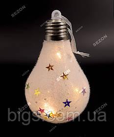 Светодиодная игрушка на елку лампочка на батарейках, теплый белый