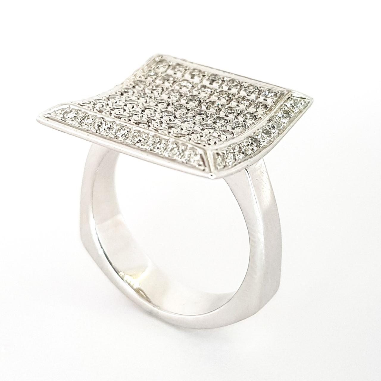 Золотое кольцо из белого золота 750 пробы квадрат