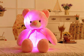 Світиться ведмедик, 45 див. м'який плюшевий ведмедик для подарунка рожевий