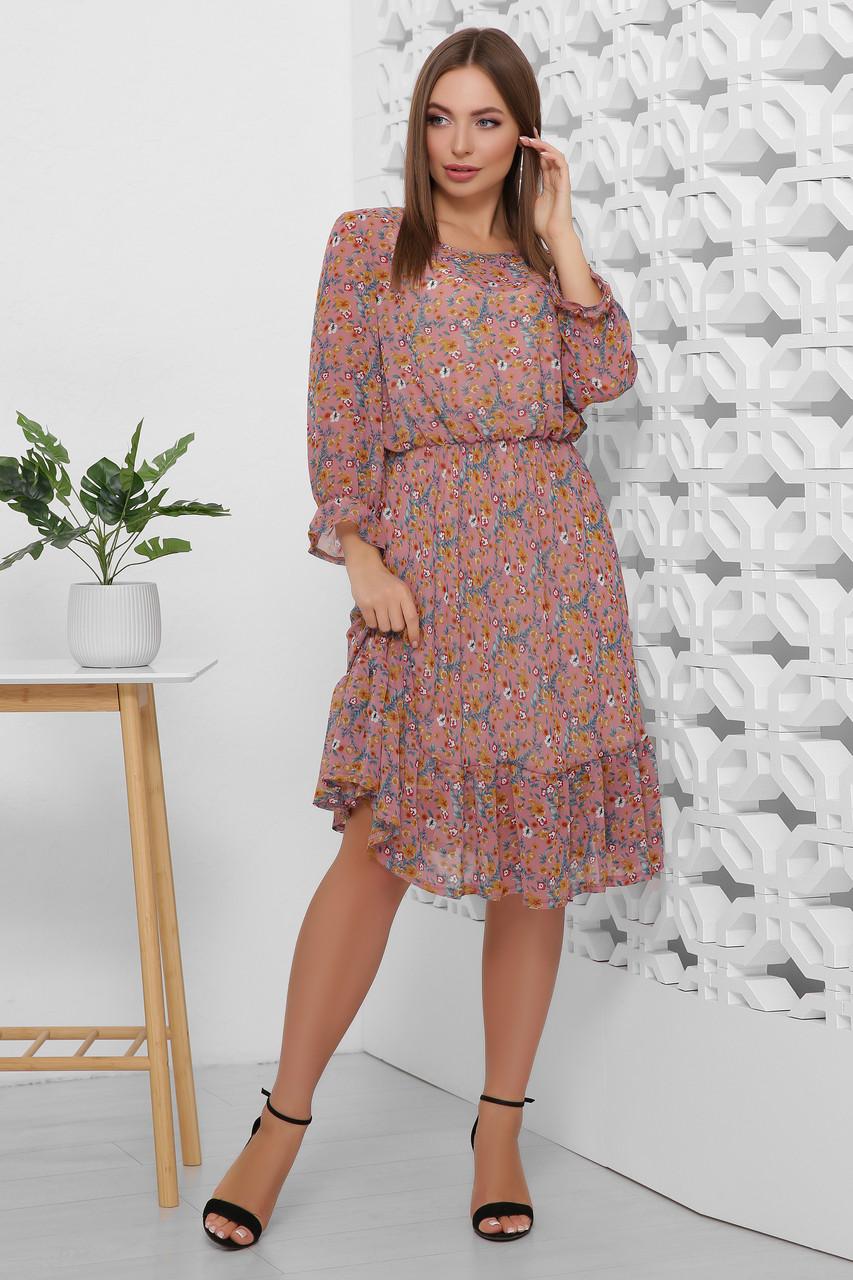 Платье шифоновое воздушное романтичное весенне-летнего образа талия на резинке