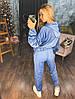 """Женский велюровый спортивный костюм """"Velours"""" с капюшоном и карманами, фото 4"""
