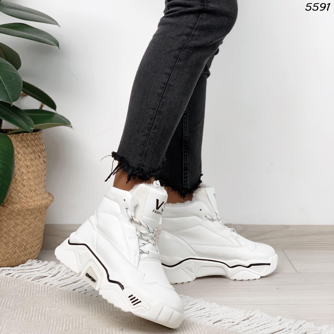 Зимние женские белые кроссовки, экокожа