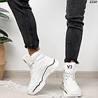 Зимние женские белые кроссовки, экокожа, фото 2