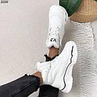 Зимние женские белые кроссовки, экокожа, фото 9