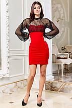 Женское нарядное мини платье с рукавами-воланами из сетки   SEV-1655.44, фото 3