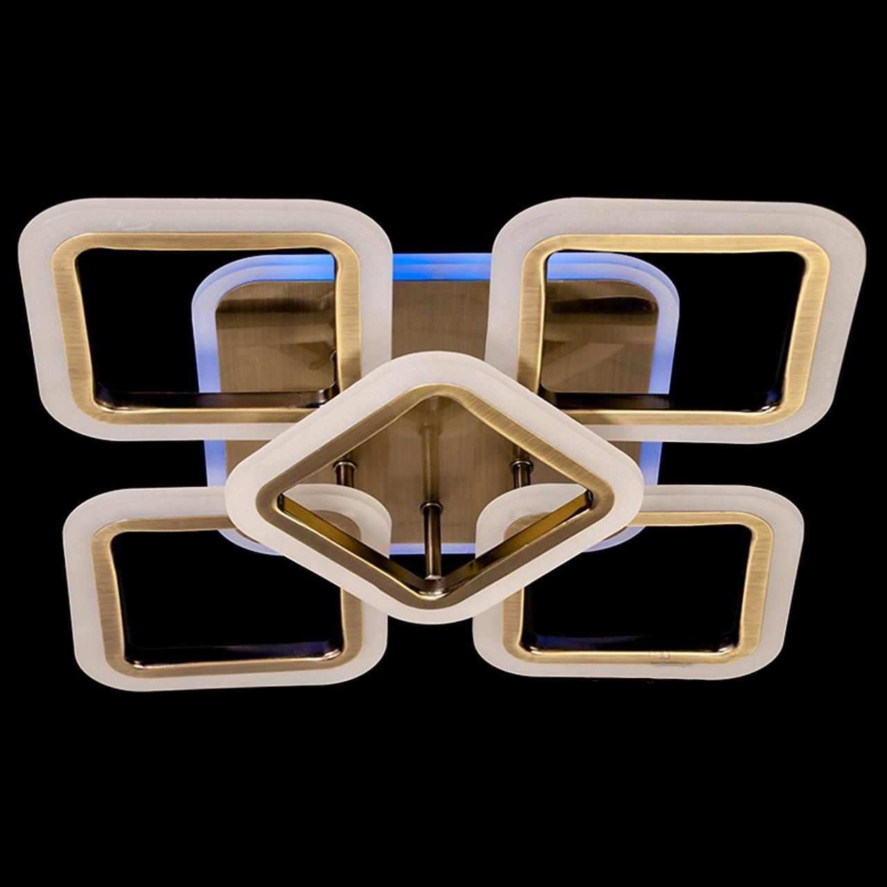 """Потолочная светодиодная люстра """"квадраты"""" 65 Вт античная бронза с подсветкой D-3511/4+1BR LED"""