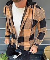 Чоловіча сорочка в клітку з капюшоном Palm Angels коричнева