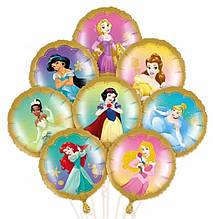 Фольгированный круглый шар принцесса рапунцель золото 45 см.