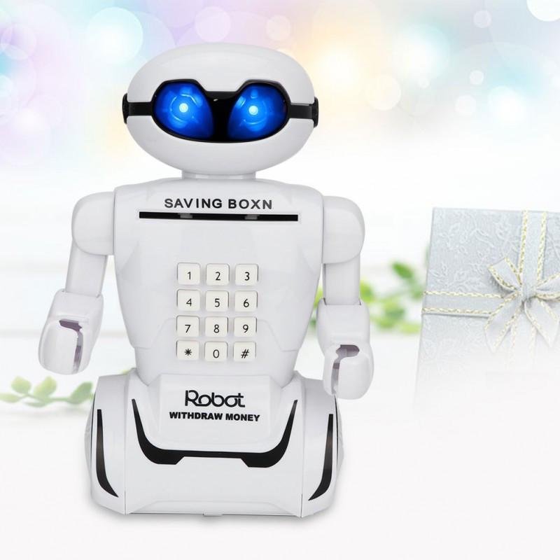 Детский робот сейф с кодовым замком настольная лампа ездит 10 мелодий 3 в 1 Robot Piggy Bank белый
