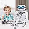 Детский робот сейф с кодовым замком настольная лампа ездит 10 мелодий 3 в 1 Robot Piggy Bank белый, фото 5
