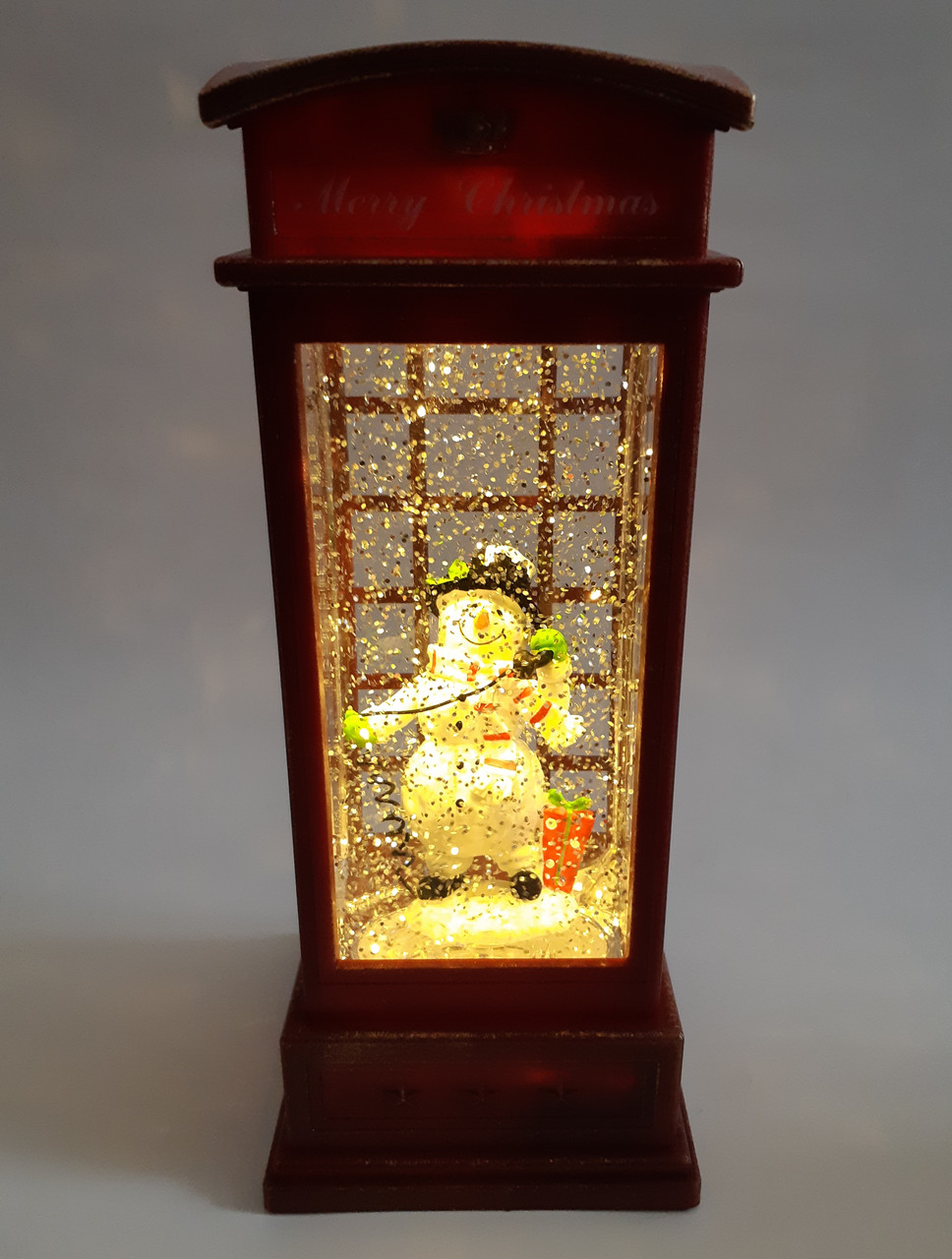 "Новогодний декор лампа - ""Телефонная будка"" со снегом Musical Phone Booth Snow Globe Light №24"