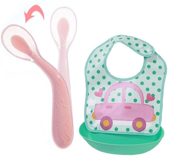 Набор Ложка силиконовая с удержанием формы изгиба для кормления ребенка Розовая и слюнявчик (n-794)