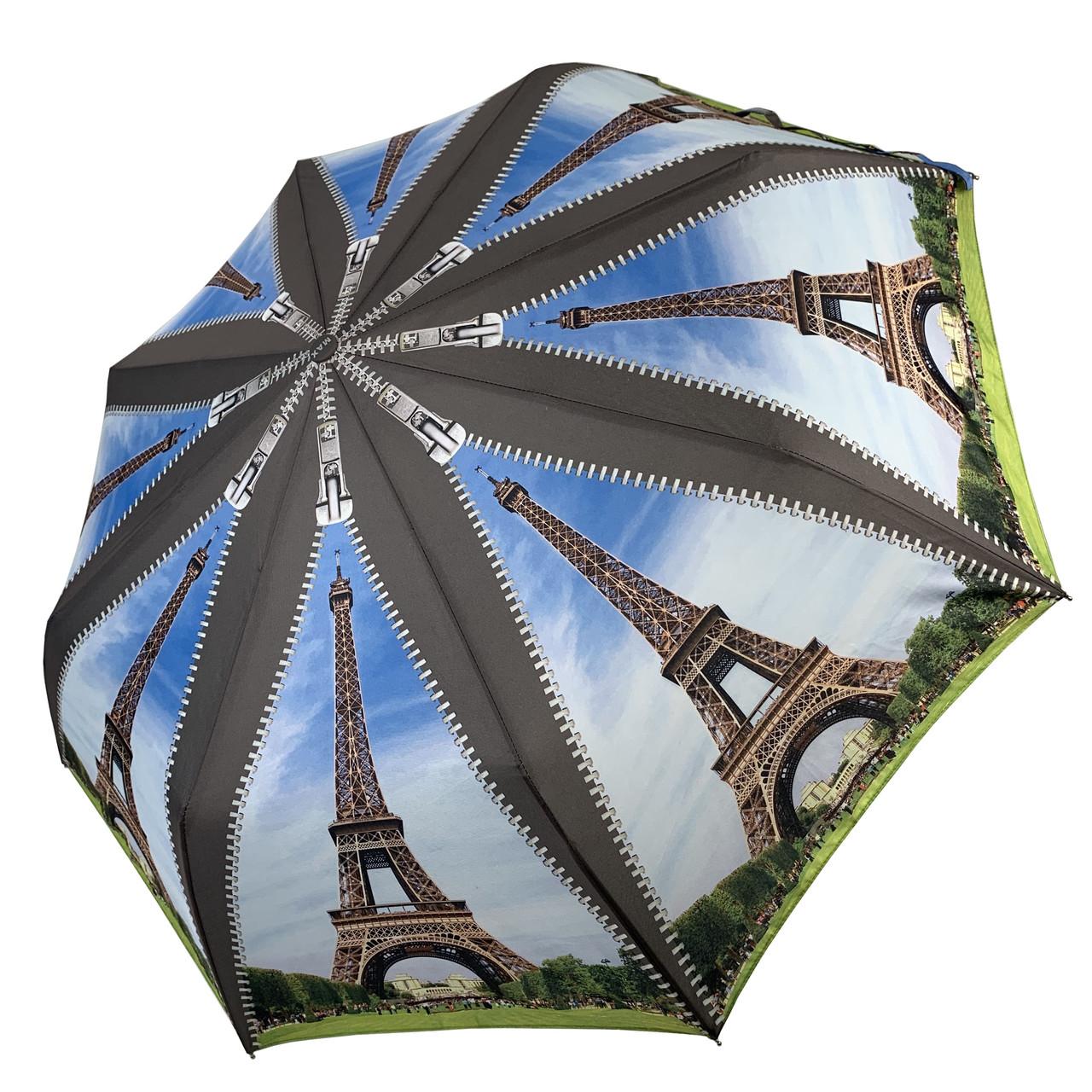Женский складной зонт-полуавтомат с облегченным каркасом и Эйфелевой башней от Max, серая ручка, 314-1