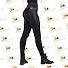 Лосины женские черный дайвинг на меху/ПЛЮШЕ широкий пояс лампас из отделочной ткани р.42-50, фото 3