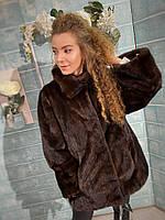 Женский норковый полушубок коричневого цвета XL