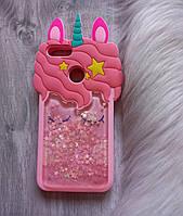 Чехол для Xiaomi Mi A1 Единорог силиконовый розовый с блестками
