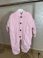 Розовый теплый комбинезон для девочки