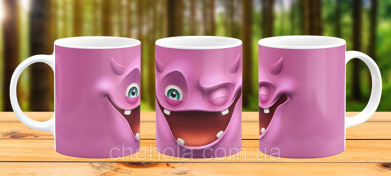 Оригінальна гуртка з принтом Рожевий монстр Прикольна чашка подарунок