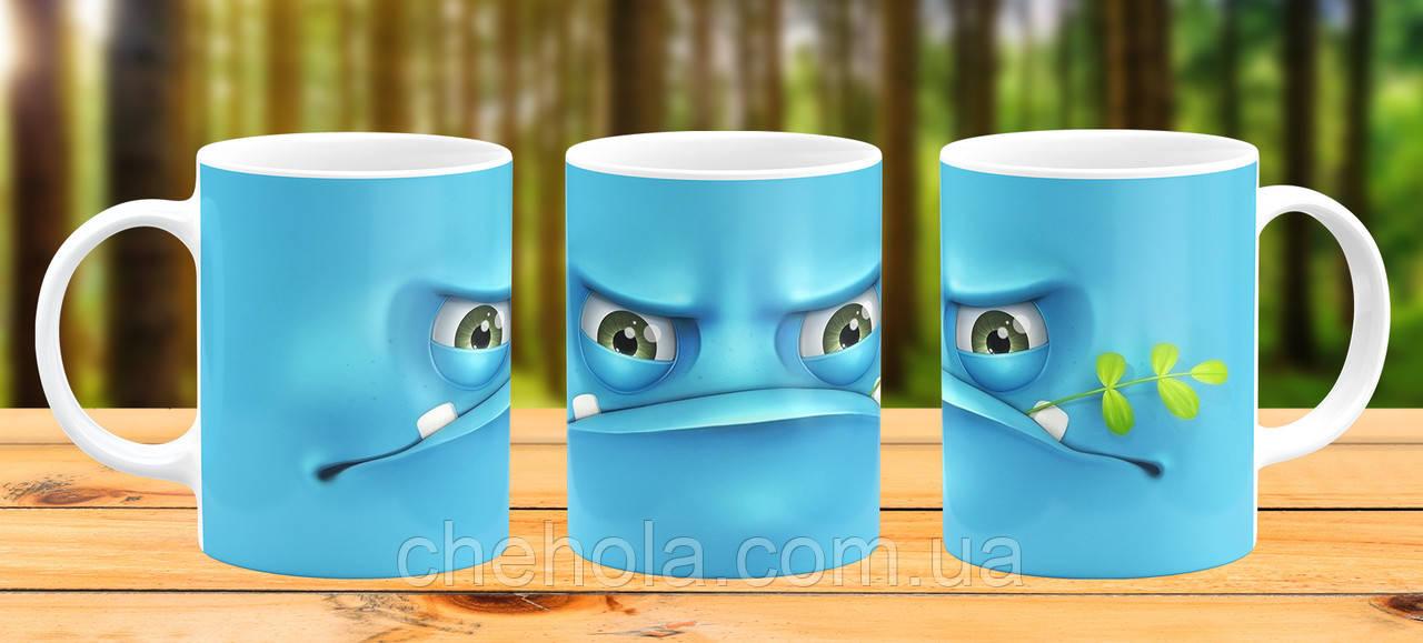 Оригінальна гуртка з принтом Синій монстр Прикольна чашка подарунок