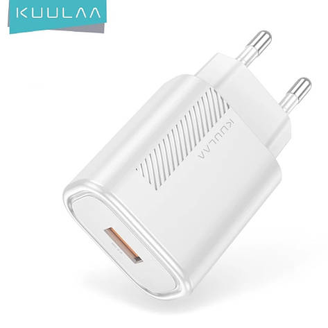 Зарядний пристрій KUULAA KL-CD02 18 вт Швидка зарядка Quick Charge QC3.0 White, фото 2