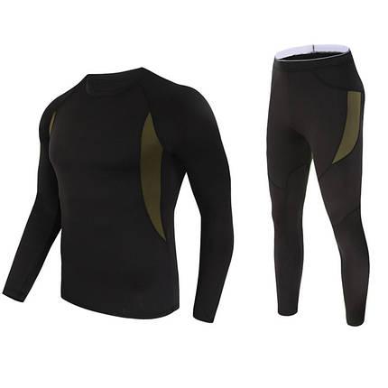 Термобелье для мужчин Lesko A152 XL Black спортивное нижнее белье флис стрейч ветрозащитное быстросохнущее, фото 2
