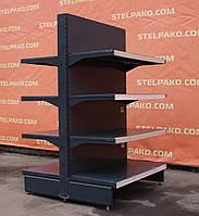 Торговый двухсторонний (островной) стеллаж «Тегометал» 150х60 см., черный, Б/у, фото 1