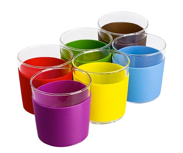 Набір скляних стаканів з силіконовими накладками 250 мл