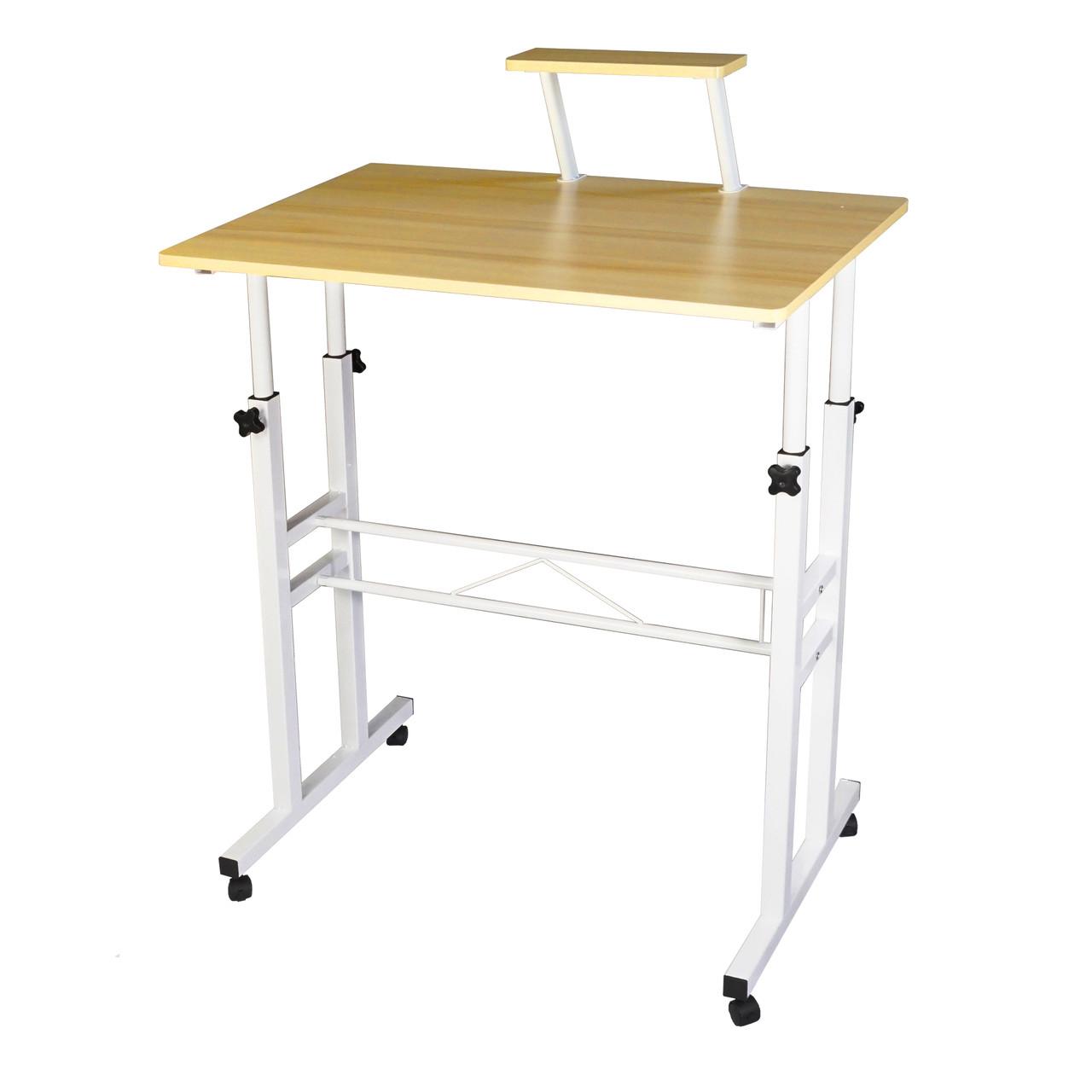Маленький комп'ютерний столик для ноутбука на колесах регульований