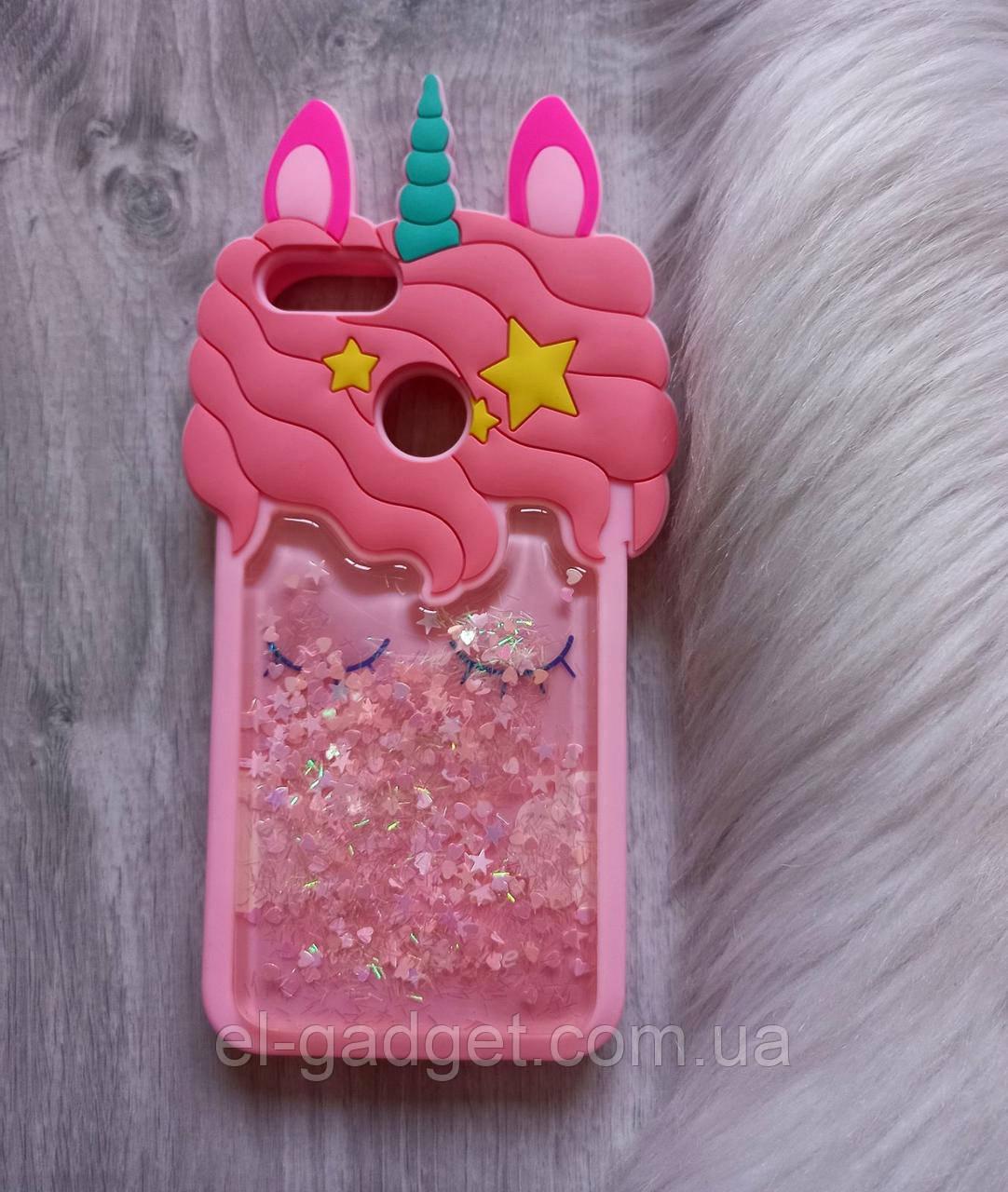 Чехол для Xiaomi Mi 5Х Единорог розовый с блестками