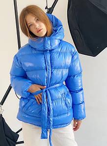 Женская куртка зефирка с поясом размер SM, ML, LXL васильковая