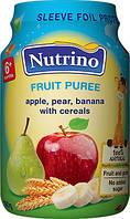 Пюре детское фруктовое Nutrino яблоко груша банан злаки 6м+ 190г Сербия 1030020