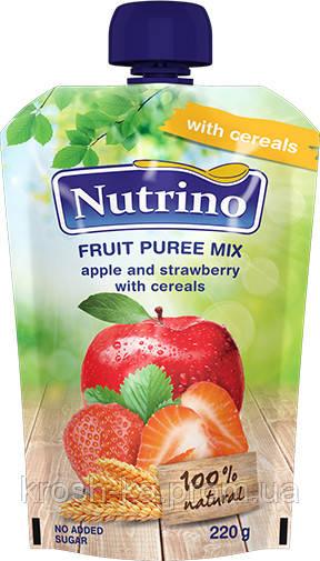 Пюре детское фруктовое яблоко клубника злаки (пауч) 6м+ 220г Сербия 1030002