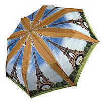 Женский складной зонт-полуавтомат с облегченным каркасом и Эйфелевой башней от Max, желтая ручка, 314-2, фото 1