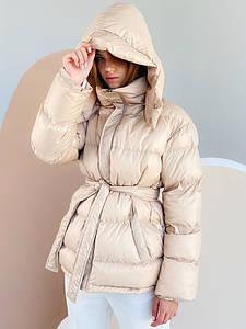 Женская бежевая куртка зефирка с поясом размер SM, ML, LXL