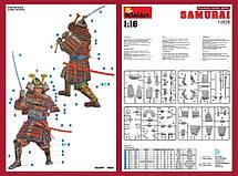 Японский самурай. Сборная пластиковая фигура в масштабе 1/16. MINIART 16028, фото 2