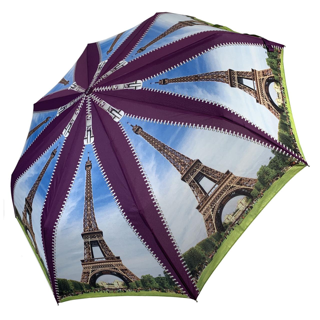 Женский складной зонт-полуавтомат с облегченным каркасом и Эйфелевой башней от Max, фиолетовая ручка, 314-3