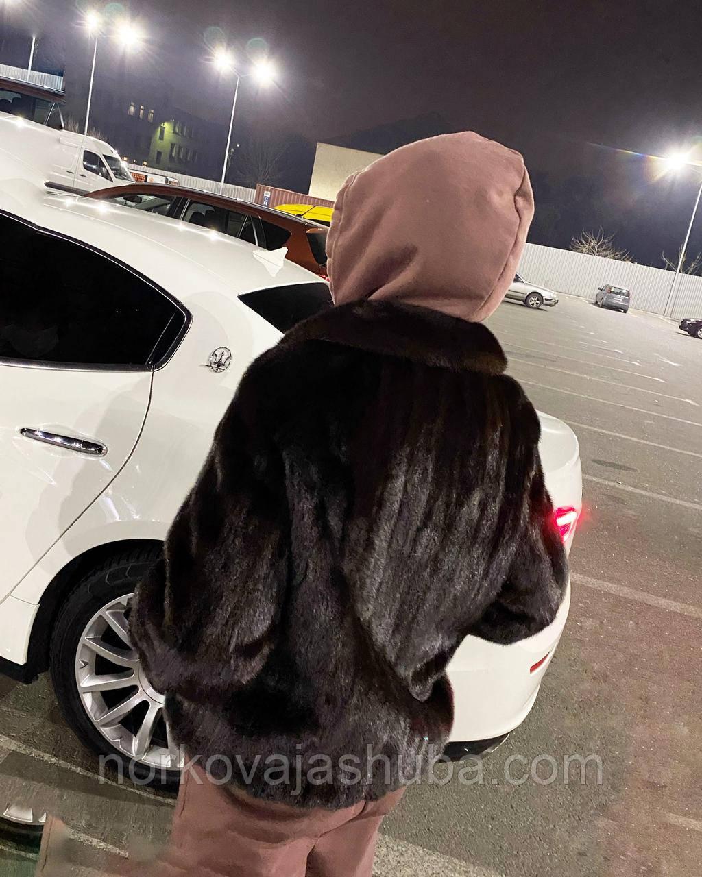 Жіноча шуба норкова кожушок темно коричневого кольору автоледі розмір 52 50